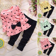 Kids Baby Girls Heart-shaped 2PCS Clothes Outfits Cotton Tops + Pants 1-5 Years