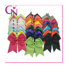 Rhinestone Bling Solid Dovetail Cheerleading Cheer Bow With Elastic For Girls