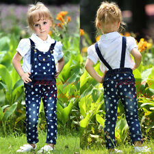 Girls Dungarees White Spots Cotton Jeans Trousers Kids Denim Overalls Bib Pants
