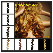 "20"" Pre Bonded U/Nail Tip Remy Human Hair Extensions Body Wave 100 strands"
