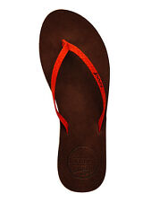 Womens Reef Leather Uptown Luxe Premium Leather Flip Flops Sandals - Red/Brown