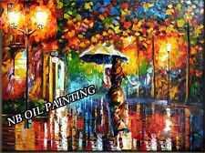 modern wall decor art street night palette knife hand painted Oil Painting