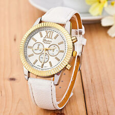 Fashion Women Watch Ladies Faux Leather Band Analog Quartz Business Wrist Watch