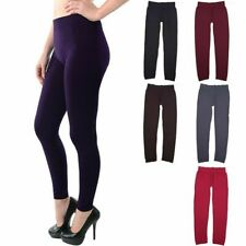 Junior Plus Size- Seamless Solid Full Length Leggings Stretchable Span ONE SIZE