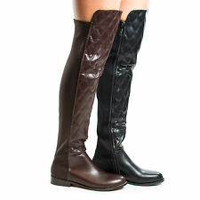 Kabul2 Quilted Knee High Boots w Elastic Shaft, Faux Fur Inner Lining, Zipper