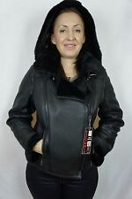 Black 100% Shearling Leather Sheepskin Pilot Bomber Aviator Jacket Coat XS - 6XL