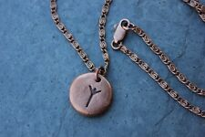 Copper rune stone necklace-Handmade Elder Futhark -Protection rune, personalized