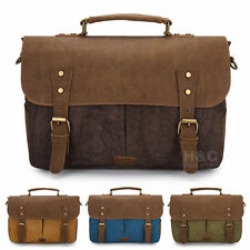 Vintage Canvas Briefcase Cross-Body Satchel Laptop Shoulder Messenger Bag New