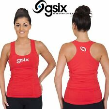 NEW LADIES GSIX RED COTTON LAYERED TUMMY CONTROL GYM SINGLET TOP SIZE 8,10,12,16