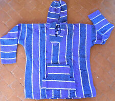 Mexican Baja Hoodie Surfer Skater Jacket Pullover Blue & Purple