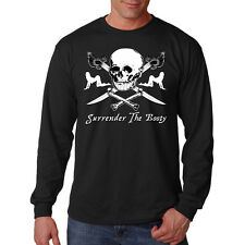 Surrender The Booty Bounty Pirate Skull Swords Funny Long Sleeve T-Shirt Tee