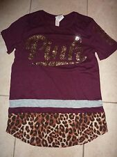 "VICTORIAS SECRET PINK RARE LEOPARD BLING SEQUIN ""PINK"" SCOOPNECK TEESHIRT NWT"