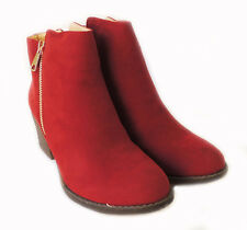 NEW WOMEN*RENEEZE*COMFY STACKED CHUNKY HEEL SIDE ZIPPER ANKLE BOOTIE PAMA-01/RED