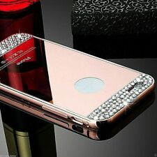 Rose Gold Diamond Crystal Hard Case Cover + Metal Bumper Frame For iPhone 6/6s