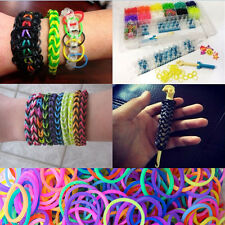 Rainbow Rubber Bands Loom Refill S Button DIY Bracelet Anklet Making Kit Set GSE