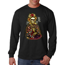 Frida Painter Day Of The Dead Sugar Skull Fan Long Sleeve T-Shirt Tee