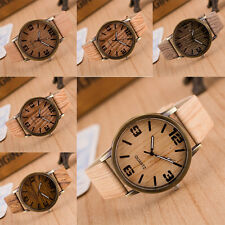 Men Women Boy Casual Quartz Wooden Pattern PU Leather Strap Wood Wristwatch Gift