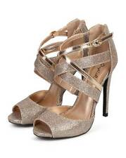 New Women Qupid Glee-143 Glitter Peep Toe Criss Cross Stiletto Heel Sandal Size