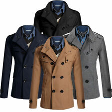 Men Fashion Double Breasted Coat Slim Fit Long Jacket Wool Trench Coat Peacoat
