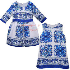 Girls Floral Party Dress Princess Wedding Pageant Porcelain Print Age 3-8 Years