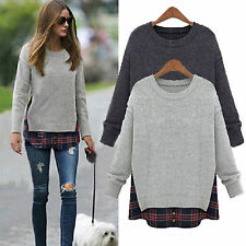 Womens Oversized Plaid Casual Jumper Tops Warm Loose Sweatshirt Sweater Pullover
