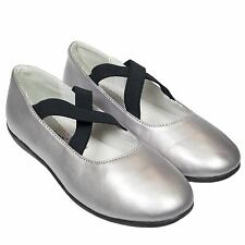 Girls Kids Toddler Infant Faux Leather Ballet Flat Shoes - Plain Silver