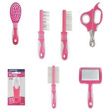 Ancol Ergo Cat Grooming Soft Brush Slicker Comb Moulting Clippers Tick Tool