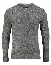 NEW Mens Grey Black Melange Button Shoulder Crew Neck Chunky Knit Jumper SMALL