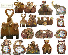 NEW Cute Entwined Kissing Elephant/Animals Family Making a Heart Statue Ornament