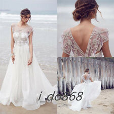2015 New Bohemian Beach Wedding Dresses Rhinestones A Line Backless Bridal Gowns