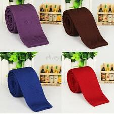 NEW Men Narrow Slim Skinny Woven Solid Tie Knitted Plain Necktie Lot Colors E29