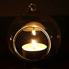 Transparent Glass Hanging Tealight Candle Holder Candlestick Wedding Party Decor