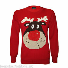 Ladies Womens Rudolph Novelty Shiny Lurex Nose Reindeer Xmas Knitted Jumper Top