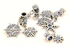 Snowflake Charms Oxidised Silver Christmas Festive fit Snake Charm Bracelet (2X)
