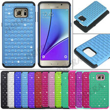 Bling Crystal Rugged Soft Rubber Hybrid Tough Case For Samsung Galaxy S / Note
