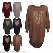 Ladies Women's High Low Batwing Baggy Oversized Heart Studded Top Dress 8-26