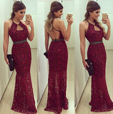 Lady Sexy Backless Long Lace Evening Party Club Prom Gown Formal Cocktail Dress