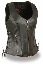 Ladies Zipper Front Black Side Lace Leather Vest w/ Zippered Pockets Gun Pockets