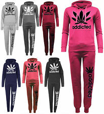 New Stylish Ladies Hooded Tracksuit Womens Addicted Sweatshirt Jogging Bottoms