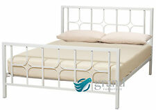 Contemporary Manhattan White Metal Bed Frame Chunky Single Small Double King