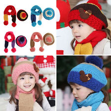 2pcs New Baby Kid Girl Boy Winter Warm Beanie Knitted Wool Hat Cap+ Scarf  Set