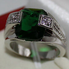 Mens Jewelry Oblong Green Emerald with CZ Stone Stainless Steel Ring Size 8-12