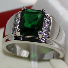 Mens Oblong Green Emerald with CZ Stone Stainless Steel Eternity Ring Size 9-11