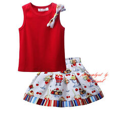 Girls Summer Outfits Kids Sleeveless Cotton Vest Top & Printed Party Skirts Set