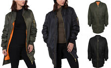 NEW WOMENS LADIES CLASSIC URBAN ZIP MA1 LONG BOMBER JACKET PADDED COAT TOP 8-14