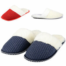 NEW WOMENS GIRLS LADIES SLIPPERS SLIP ON KNITTED FUR MULES NON SLIP Size 3-8