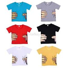 Stylish Toddler Boy Kid 3D Effect Short Sleeve Hand Printed Tops T-Shirt New T17