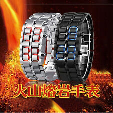 Luxury Black Silver Stainless Steel LED Wrist Watch Samurai Mens Cool Watches