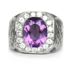 10x8mm Natural Purple Amethyst Man Ring With White Zircon in 925 Silver