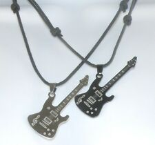 Stainless Steel Guitar Pendant on a Surfer Choker / Necklace Waxed Cotton Cord